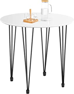 Kealive Dining Table Round Wood White Coffee Table Modern...