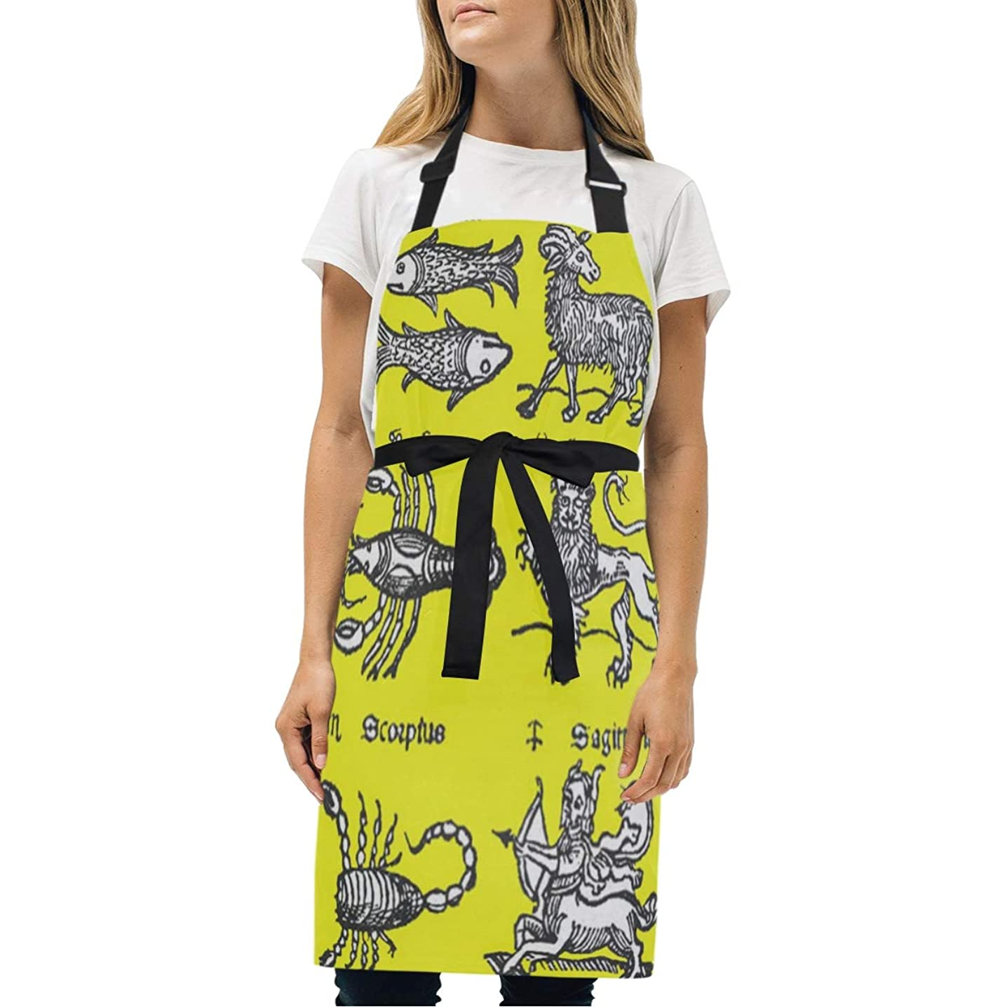 YIXKC Apron Signs of The Zodiac Adjustable Neck with 2 Pockets Bib Apron for Family/Kitchen/Chef/Unisex
