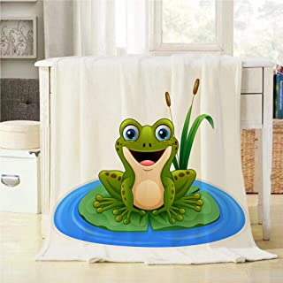 Mugod Green Frog Throw Blanket Cartoon Frog On A Leaf in The Pond Soft Warm Lightweight Cozy Luxury Suitable for Bedding Sofa Couch 60x80Inch