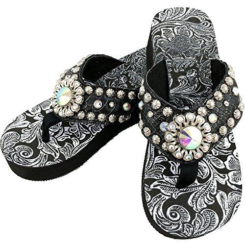 Western Peak Women's Black Croc PU Leather AB Gemstone and Rhinestone Flip Flop Sandals (9)