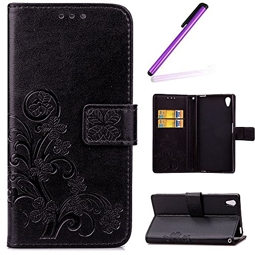 HMTECH Sony Xperia XA Funda Flip Case Cover para Leather Wallet de Soporte Billetera con Tapa Tarjetas con Business Card Holder + Stand Function Carcasas Case para Sony Xperia XA,Lucky Clover:Black