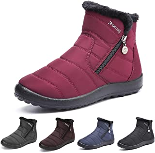 Warm Snow Boots, Women's Winter Ankle Bootie Anti-Slip Fur Lined Ankle Short Boots Waterproof Slip On Outdoor Shoes
