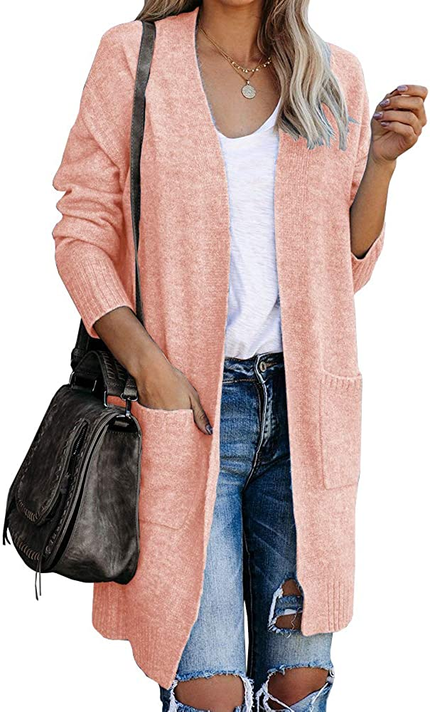 Ybenlow Womens Boho Open Front Cardigan Sweaters Long Sleeve Lightweight Loose Knit Sweater Tops Duster Coats