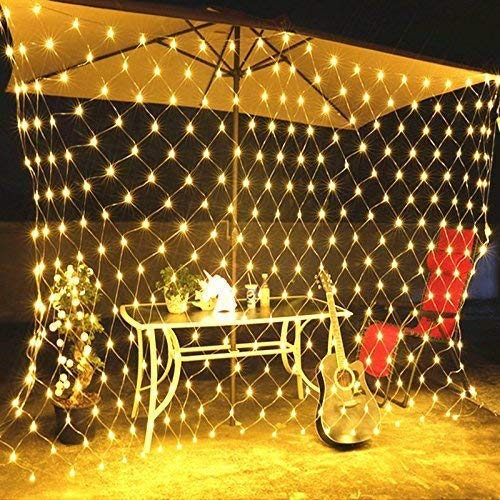 RENUS 10x6.5Ft 320 LED Net Lights Indoor String Lights Party Christmas Xmas Wedding Home Garden Decorations 8 Modes for Flashing(Warm White)