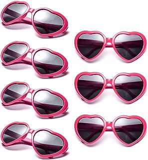 Neon Colors Party Favor Supplies Wholesale Heart Sunglasses (7 Pack Hot Pink)
