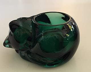 Indiana Glass Emerald Green Glass Sleeping Kitten Cat Votive Candle Holder