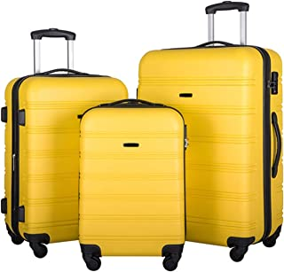 """WWWFZS 3 Piece Luggage Set Hardside Spinner Suitcase with TSA Lock 20"""" 24' 28"""" Available(Color:Yellow)"""