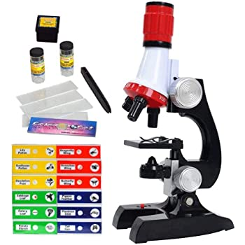 Science Kits for Kids Beginner Microscope with LED 100X 400X and 1200X-Include Sample Prepared Slides 12pc- Educational Toy Birthday