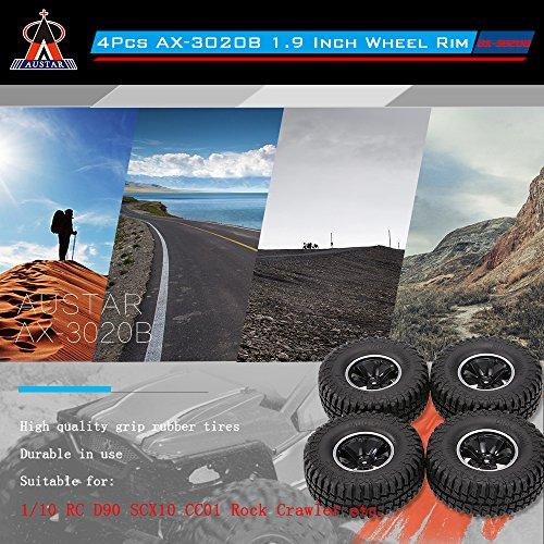 Goolsky 4Stk AUSTAR AX-3020C 1,9 Zoll 103mm 1/10 Scale Reifen mit Felge für 1/10 D90 SCX10 CC01 RC Rock Crawler
