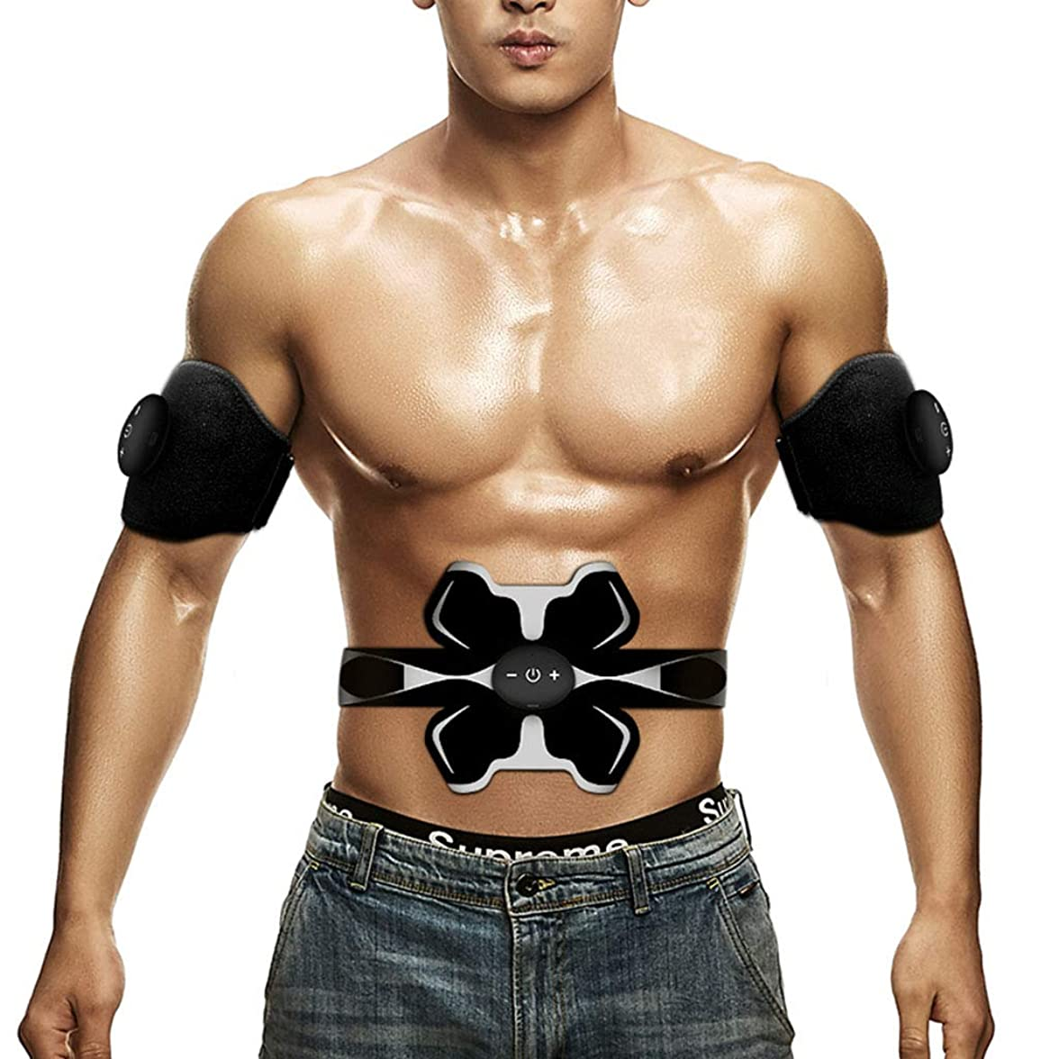 毛皮ビスケット普通のフィットネス薄いベルト、男性のスマート腹部ボディボディ腹部ベルト腹部筋肉トナー腹部カラーベルト筋肉トナー筋肉腹部トレーナー (Color : BLACK, Size : 20*52CM)