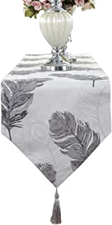 HomeyHo Natural Home Table Runner with Tassel Washable Table Runner Outdoor Dinner Room Table Runner Floral Feather Table Runner Wedding Decorative Table Runner Feachers, 13 x 71 Inch, Gray