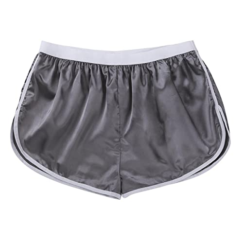 bfe9ad1d5bfd CHICTRY Men's Summer Silk Satin Shorts Frilly Boxer Briefs Casual Loose  Underwear