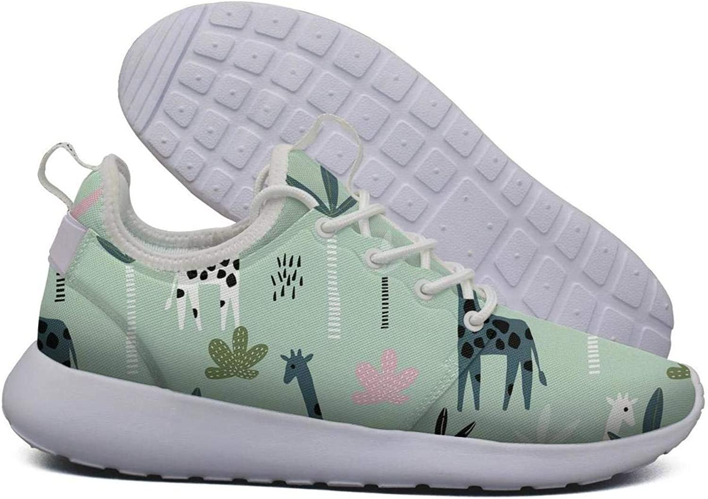 Hoohle Sports Womens Green Giraffe Palm Tree Flex Mesh Roshe 2 Lightweight Print Running Sneakers shoes