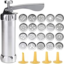 Shule Cookie Press Gun Kit for DIY Biscuit Maker and Decoration with 20 Stainless Steel Cookie discs and 4 nozzles,Silver