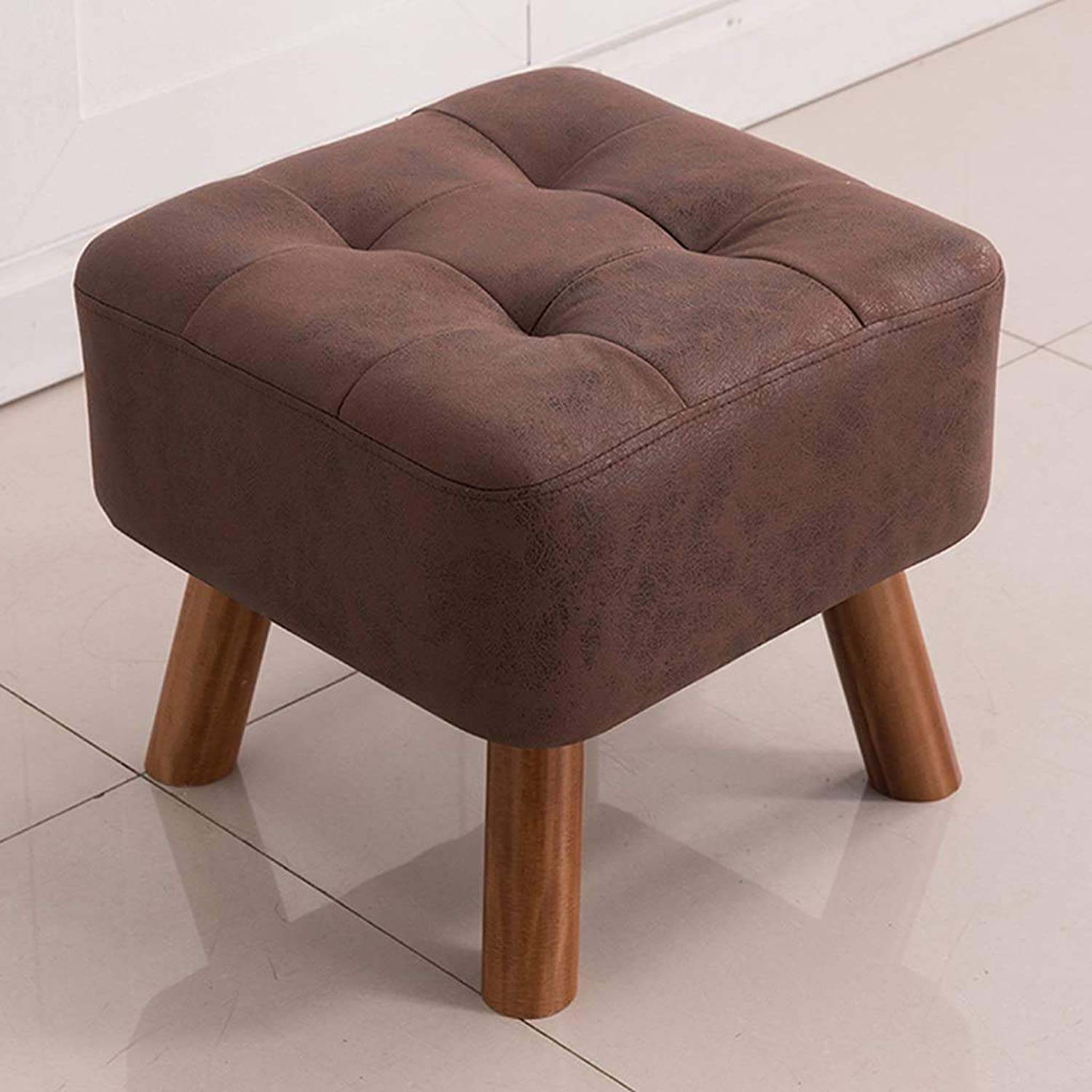 Solid Wood Square Stool Fashion Cloth Art Sofa Chair Tea Table Dressing Table Technology Cloth Stool Porch shoes Changing Stool (Size   Brown)