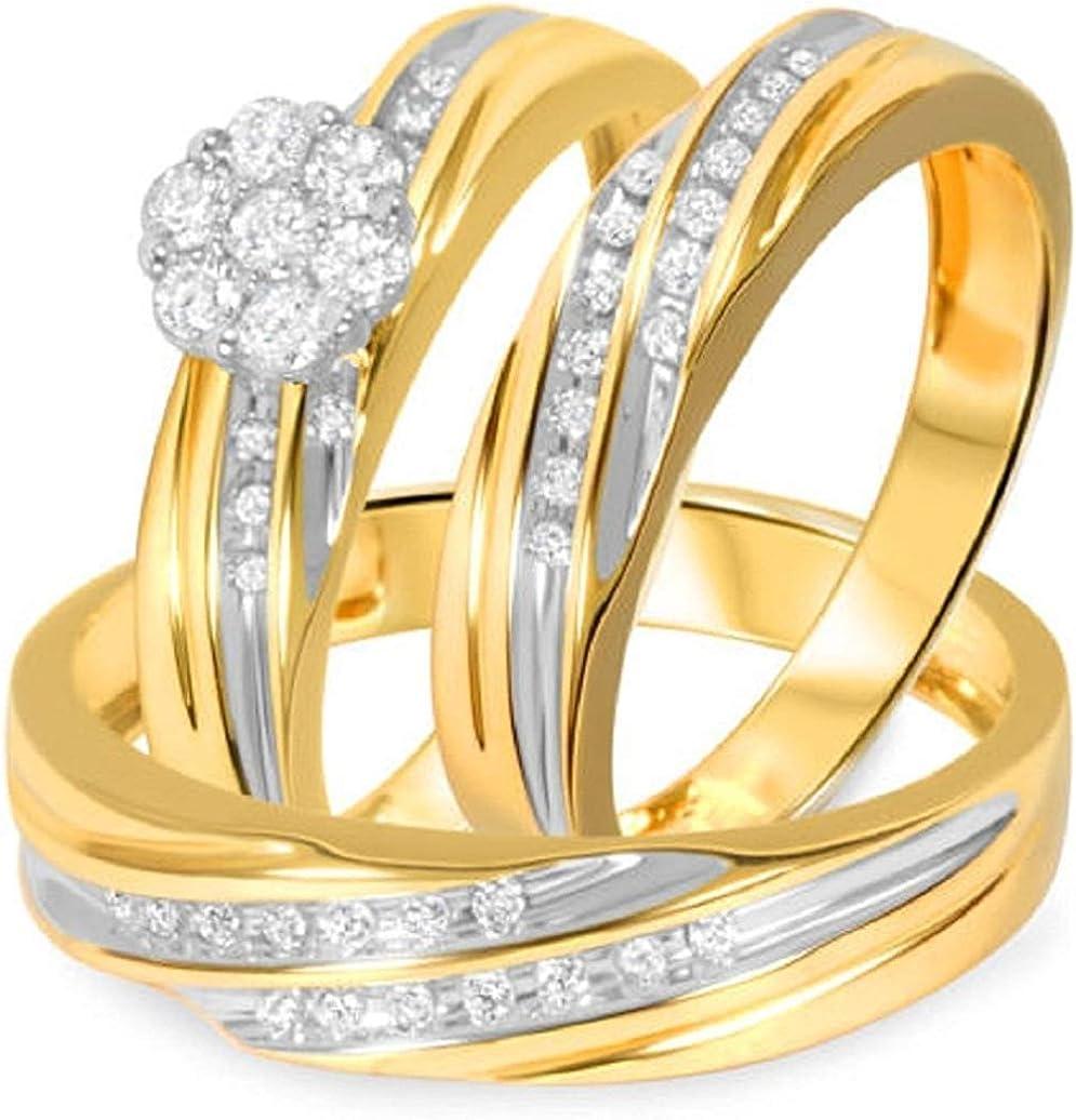 Triostar 14k Yellow Gold Finish Online limited product 3 Virginia Beach Mall 8 Diamond CT Women's Men's E