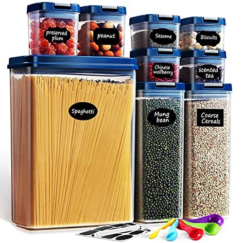 Lockcoo Contenitori Alimentari per Pasta Senza BPA, 9 Pezzi Contenitori per Alimenti Ermetici con Etichette, Cucchiai e Pennarello per Cereali Pasta Farina