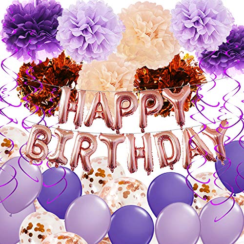 Birthday Decorations for Women Purple Champagne Rose Gold Happy Birthday Balloons Rose Gold Confetti Balloons Purple Birthday Decorations Purple Hanging Swirls Photo Backdrop