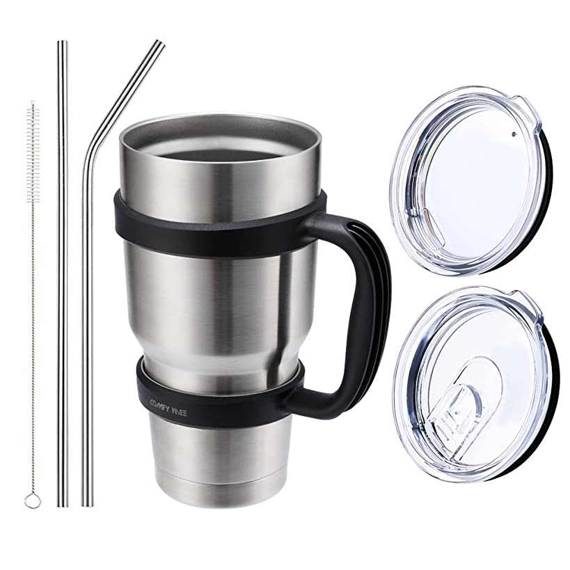 Comfy Mee Stainless Steel Insulated Double Wall Tumbler 30 oz with Lid, Handle, Straws, Brush for Beer, Coffee,Home, Office, School, Car Trip