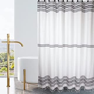 Hall & Perry Modern Block Farmhouse Shower Curtain with Tassels -100% Cotton Striped Fabric for Bathroom, Grey and White