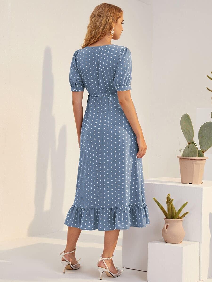 Shreem85 Maternity Dress Polka Surplic Sleeve Dot Puff Japan Maker New San Antonio Mall