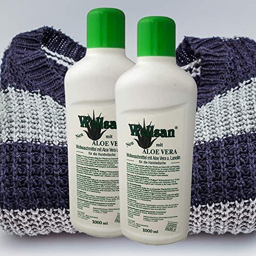 2x WOLLSAN je 1000ml Wollwaschmittel mit Lanolin & Aloe Vera   Wollschampoo   Waschmittel   Wollreiniger   Fellwaschmittel für Wolle
