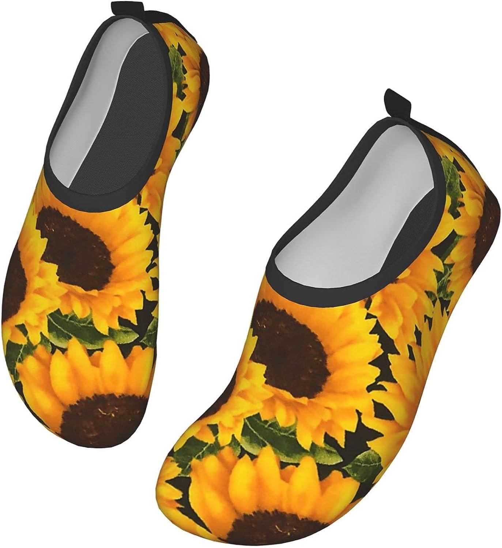 Yaiyilin Sunflower Field Water Shoes Mens Womens Aqua Socks Quick Dry Barefoot Swim Beach Shoes for Pool Yoga Surfs Exercise