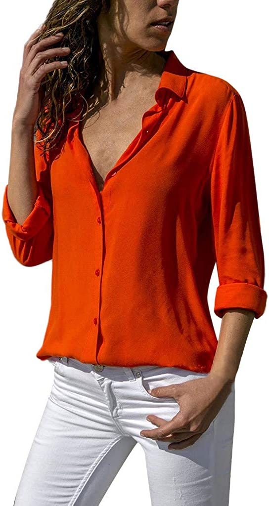Fashion Chiffon Solid T-Shirt Direct sale of manufacturer V-neck Sleeve Plain Roll Bl Office Dealing full price reduction