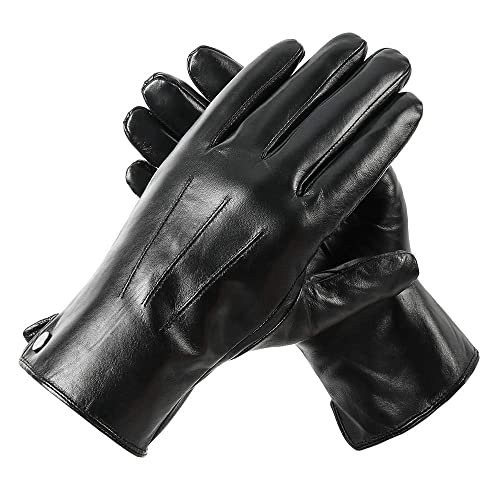 279fe539c5a4f Men's touchscreen Geniune Leather Gloves Winter Warm Driving Cashmere  Lining Fleece