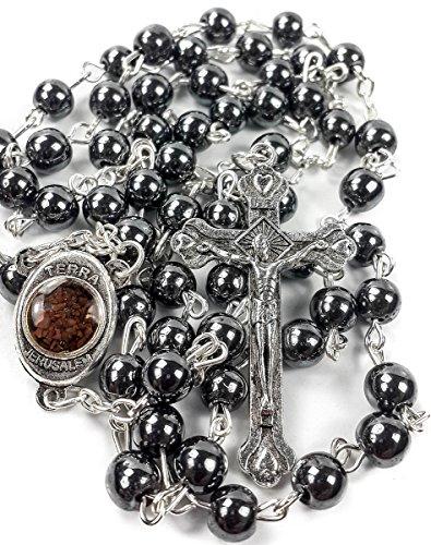 Rosario de cuentas de hematita, piedra de hematita, colgante de cruz, collar de cuentas, Tierra Santa