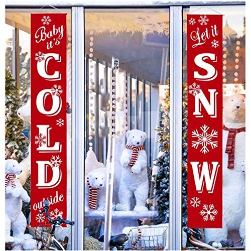 TIANMI Christmas Porch Sign, Christmas Banner, Santa Clause and Snowman Merry Christmas Hanging Banners for Holiday Home Indoor Outdoor Porch Wall Christmas Decoration
