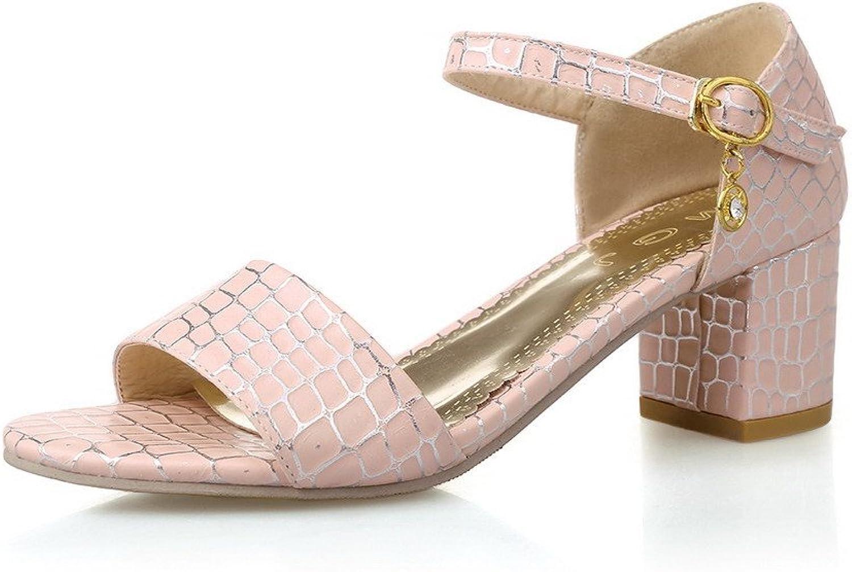WeenFashion Women's Buckle Kitten-Heels PU Open-Toe Solid Sandals