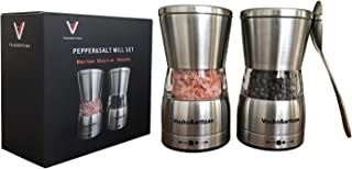 Stainless Steel Salt or Pepper Grinders, Vouko&artizan Pepper and Salt Grinders With Ceramic Blades for Kitchen - Adjustable Himalayan Salt Mill & Pepper Grinder (Two for one package)