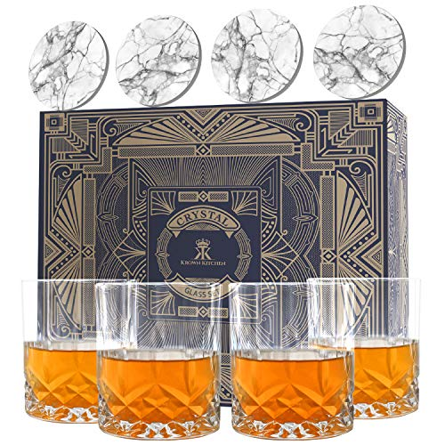 Krown Kitchen - Whiskey Glass Set of 4. Highball Rocks Glass tumblers. Whiskey Set Perfect for Bourbon, Cocktail, Scotch. Includes Luxury Gift Box and Ceramic Stone Coasters. 315ml Capacity