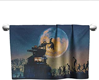 Bensonsve Hand Towel Fantasy World,Dead Queen in Castle Zombies in Cemetery Love Affair Bridal Halloween Theme,Blue Yellow,Hand Towel Stands for bathrooms