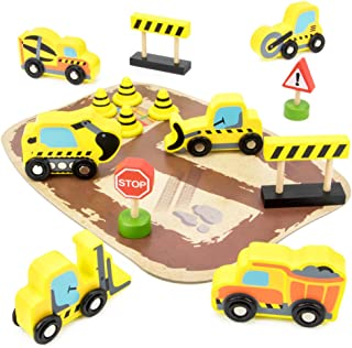 City Builders Wooden Construction Vehicles, 14-Piece Play Set with Trucks, Barriers, Street Signs, and Play Board in Wood Tray by Imagination Generation