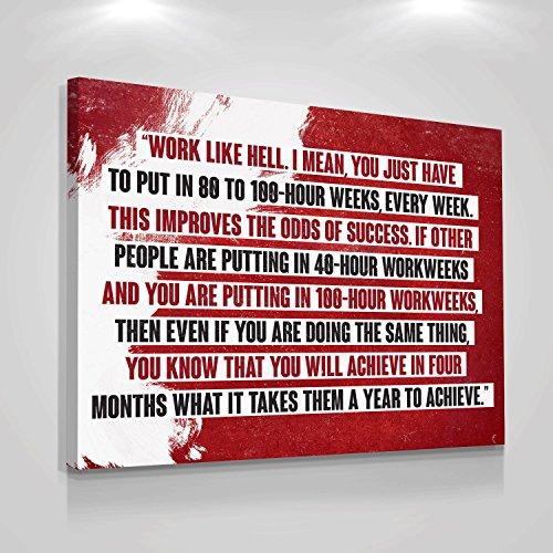 Work Like Hell Motivation Quote Framed Wall Canvas Print Office Decor Modern Art Home Quotes Inspiration Entrepreneur Hustle Motivational Thought Entrepreneurship Leader Saying Decoration (18