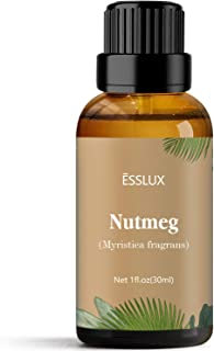 Nutmeg Essential Oil, Esslux Aromatherapy Essential Oils for Diffuser, Massage, Perfume, Candle Making, 30 ml
