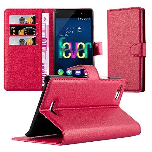 Cadorabo Hülle für WIKO Fever 4G in Karmin ROT - Handyhülle mit Magnetverschluss, Standfunktion & Kartenfach - Hülle Cover Schutzhülle Etui Tasche Book Klapp Style