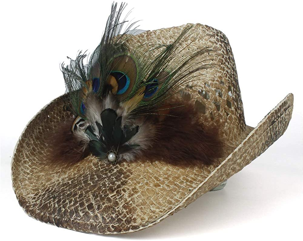 sun hat Lady price Handmade Peacock Sombrero Cowg Beach Hombre Feather discount