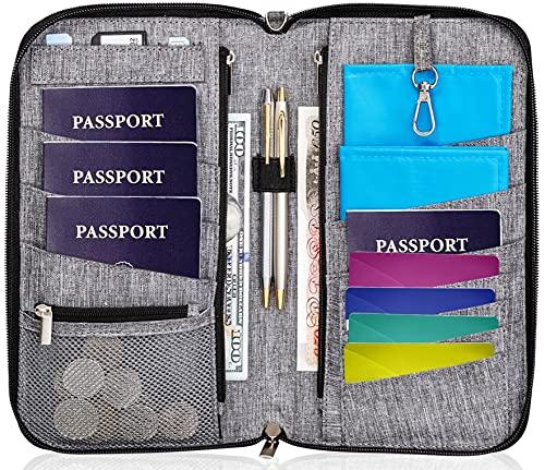 Valante Premium Family Travel Document Organizer Capacious RFID Passport Holder Wallet (Large, gray)