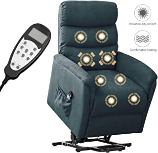 BONZY HOME Massage Recliner Chair, Lifted Chairs for Elderly, Power Electric Recliner Sofa with Vibration Heat, Remote Controlled, Widen Back, Side Pocket, for Living Room, Bedroom (Blue)