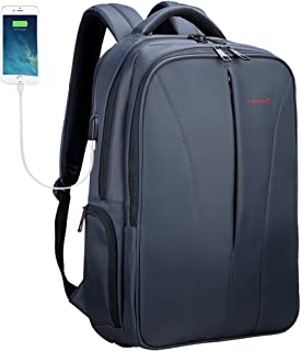 Uoobag Business Laptop Backpack with USB Charger Port Fits 15.6 16 Inch Travel Bag for Women & Men Grey