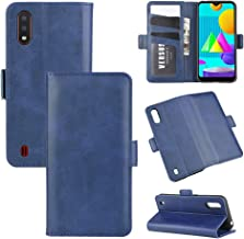 For Samsung Galaxy M01 Dual-side Magnetic Buckle Horizontal Flip Leather Case with Holder & Card Slots & Wallet Waterproof (Color : Dark Blue)
