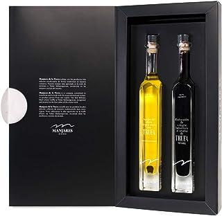 Estuche Regalo con Aceite de Oliva Virgen Extra y Reducción de Vinagre Balsámico con Trufa Negra Tuber Melanosporum ( Dos botellas -100 ml )
