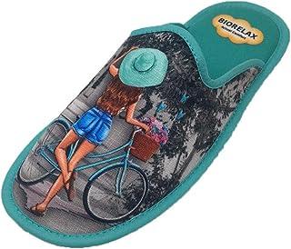 Zapatillas de Estar por casa/Mujer/Niña/Biorelax/Puntera Cerrada/Empeine: Lona/Suela: Goma/Talón Acolchado