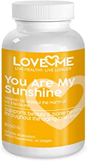 Love Me Nutrition® - You are My Sunshine - Vitamin D3 5000 IU Without UV Sun Damage. for Healthy Bone, Heart, Muscle & Immune Support. Natural. No Artificial Ingredients. 60 Soft Gels.