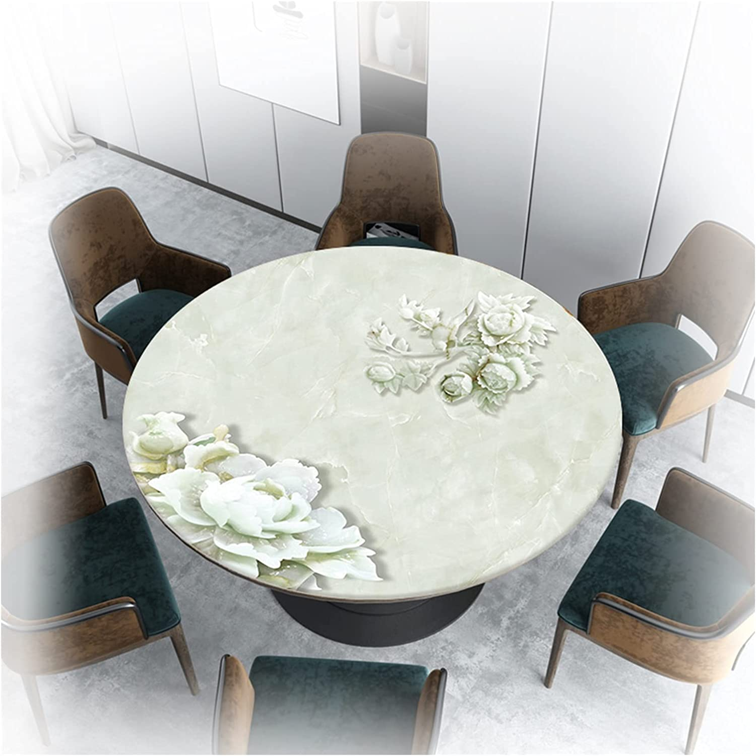 AYLYHD Arlington Mall 3D Round Table Protector Glass Soft Waterproof Philadelphia Mall Tablecloth