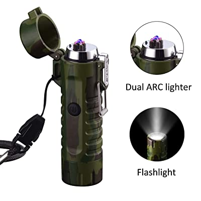 SYLHLW Flashlight Lighter, Dual Arc Plasma Ligh...