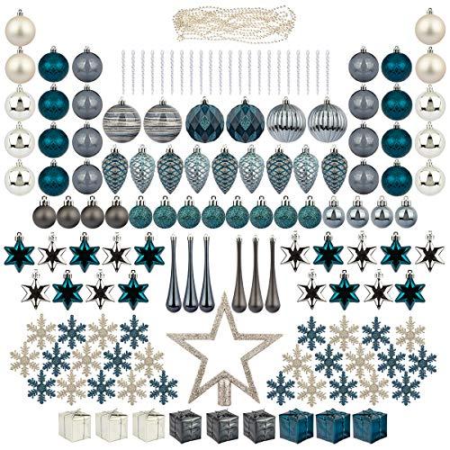 ITART - Juego de 145 adornos para árbol de Navidad, plástico azul, irrompible, incluye adornos para árboles, copos de nieve, carámbanos, estrellas, conos de pino, guirnaldas